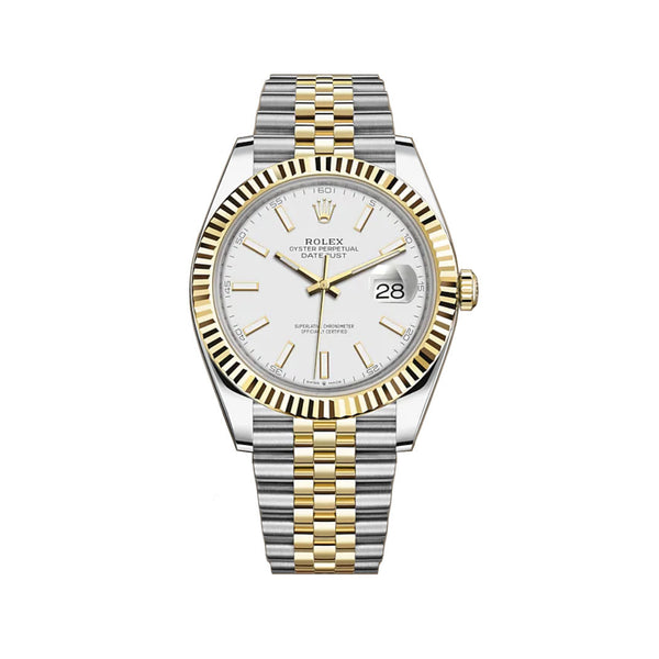 41mm Steel & Yellow Gold White Index Dial Jubilee Bracelet