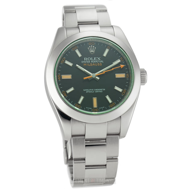 Stainless Steel Black Dial Green Crystal