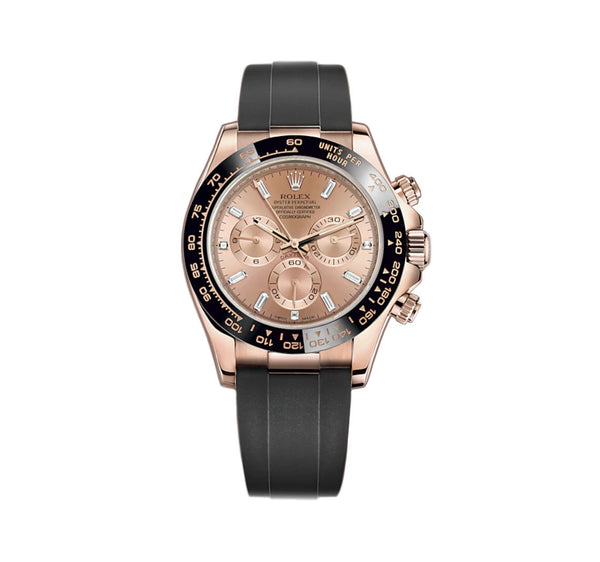 18k Everose Gold Ceramic Bezel Black Pink Baguette Diamond Dial Oysterflex