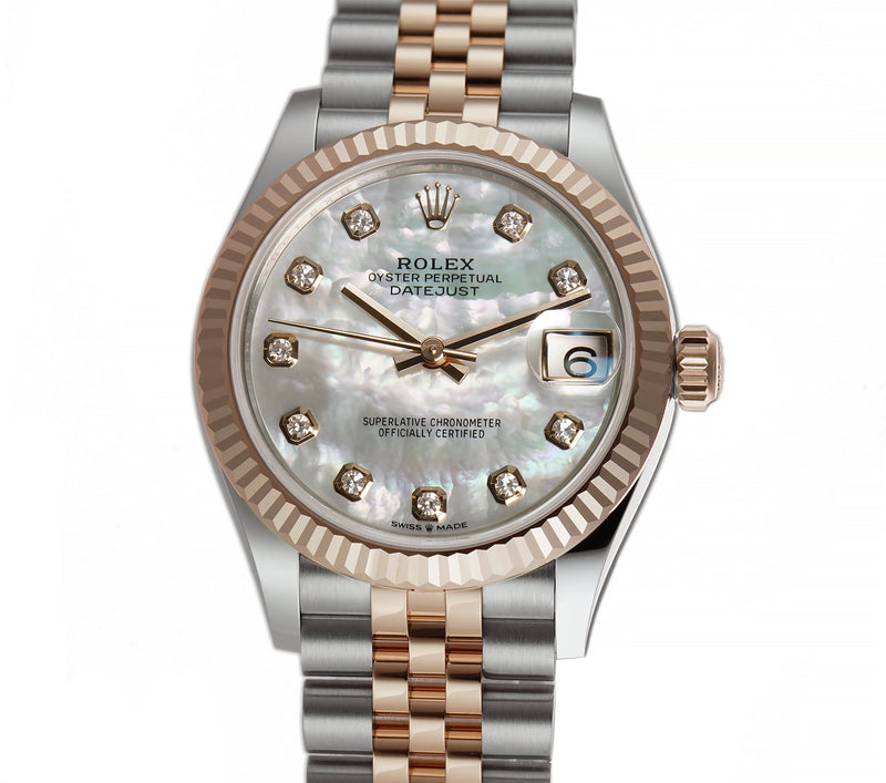 31mm Steel And 18k Everose Gold White Mother-of-Pearl Diamond Dial Jubilee Bracelet