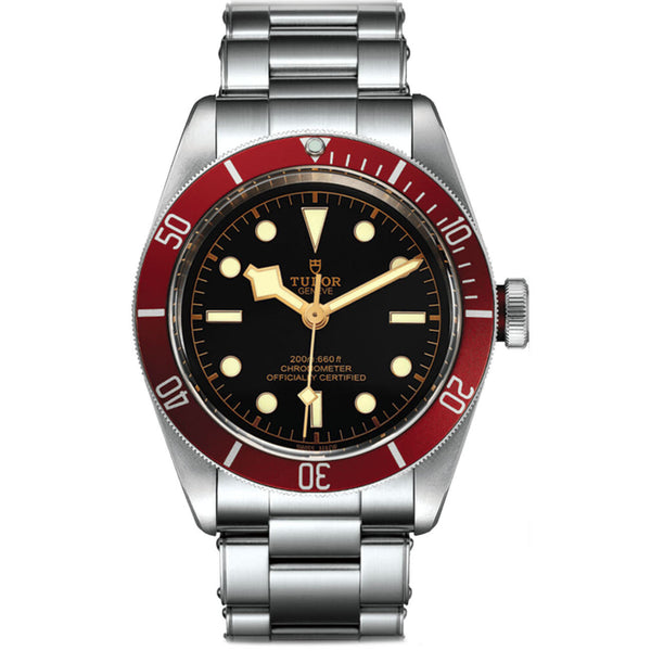 Diver Steel Black Dial Burgundy Bezel 41mm