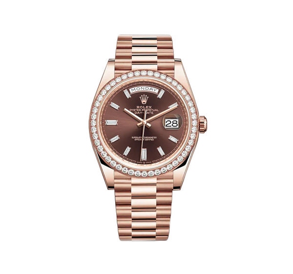 18k Everose Gold President Chocolate Baguette Diamond Dial