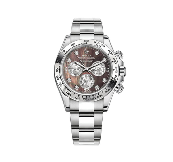 18k White Gold Black Mother Of Pearl Diamond Dial