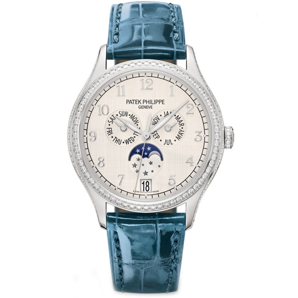 Annual Calendar Moonphase 18k White Gold Diamond Bezel 38mm Silver Dial