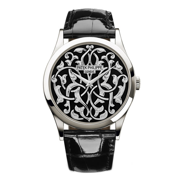 Volutes And Arabesques Platinum 38mm Hand-Engraved Black Enamel Dial