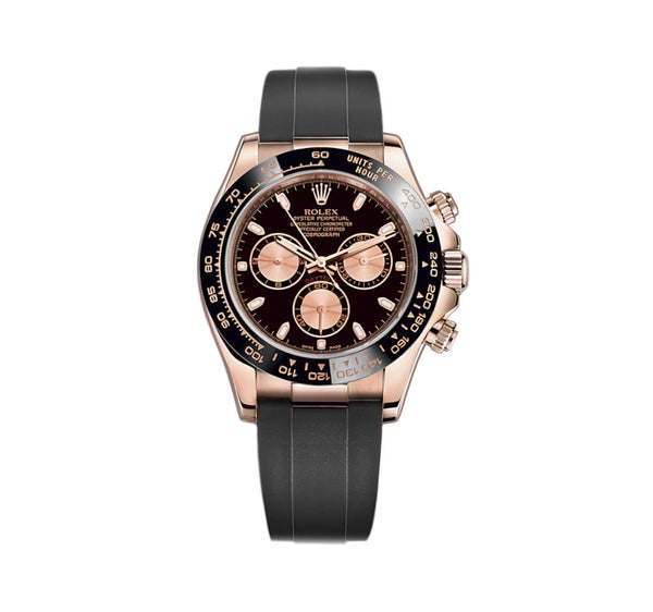 18k Everose Gold Ceramic Bezel Black And Pink Dial Oysterflex