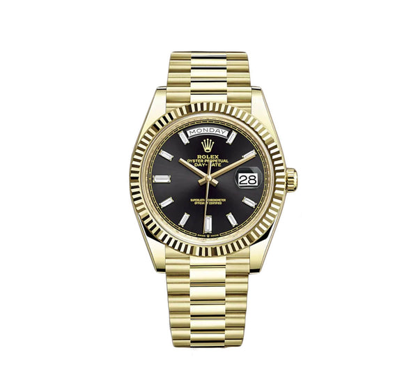 18K YELLOW GOLD PRESIDENT BLACK BAGUETTE DIAMOND DIAL