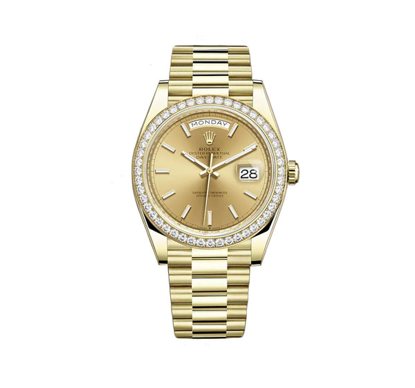18k Yellow Gold President Diamond Bezel Champagne Index Dial