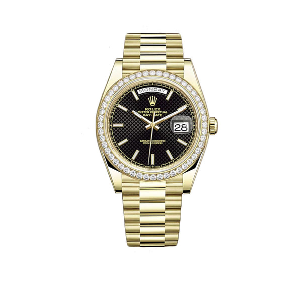 18k Yellow Gold President Diamond Bezel Black Index Diagonal Motif