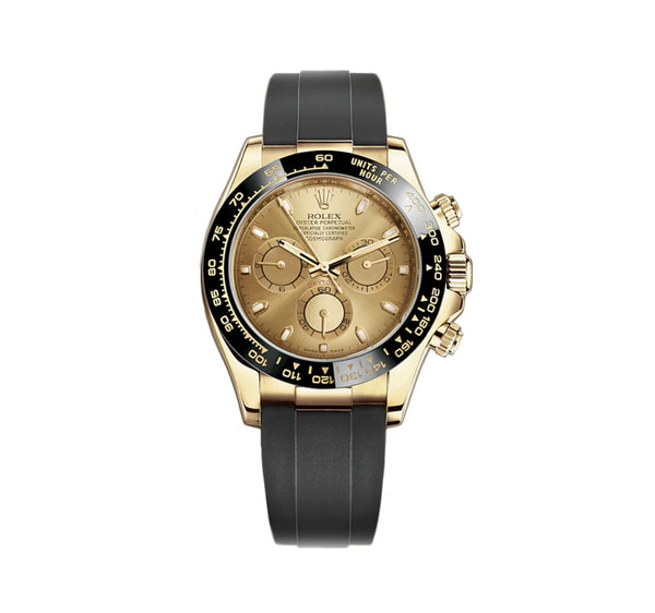 18k Yellow Gold Ceramic Bezel Champagne Dial Oysterflex