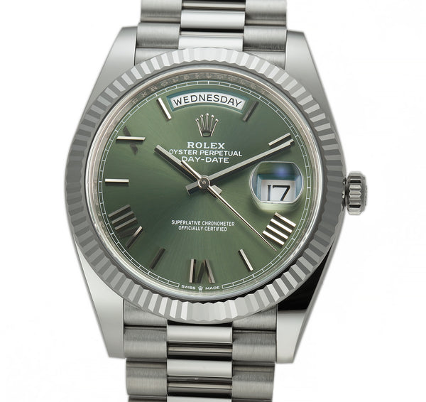 40mm 18k White Gold President Olive Green Dial