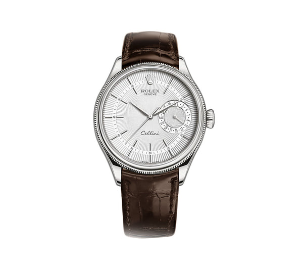 Date 18k White Gold 39mm Silver Dial On Brown Strap