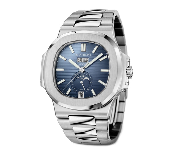 Annual Calendar Moon Phase Steel 41mm Blue Dial