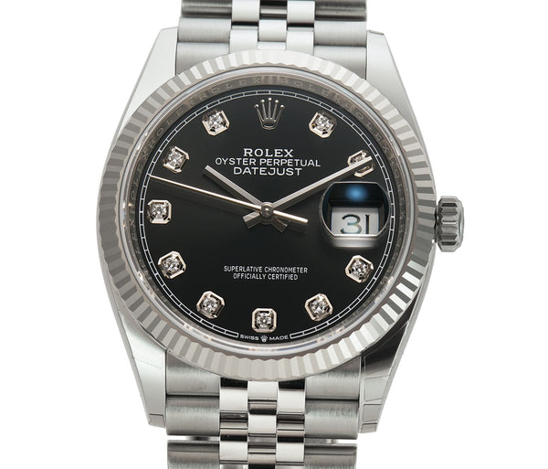 36mm Steel Black Diamond Dial 18k Fluted Bezel Jubilee Bracelet
