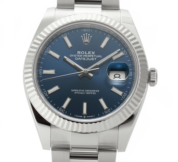 Steel 41mm 18k White Gold Bezel Blue Index Dial Oyster Bracelet