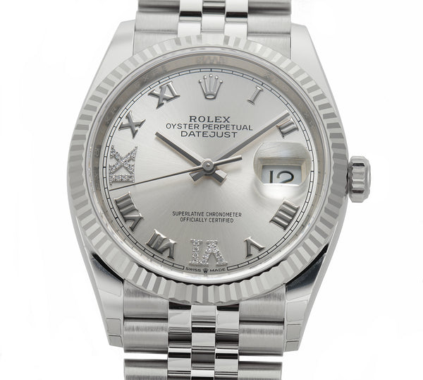 36mm Steel Silver Roman Diamond VI And IX Dial 18k Fluted Bezel Jubilee Bracelet