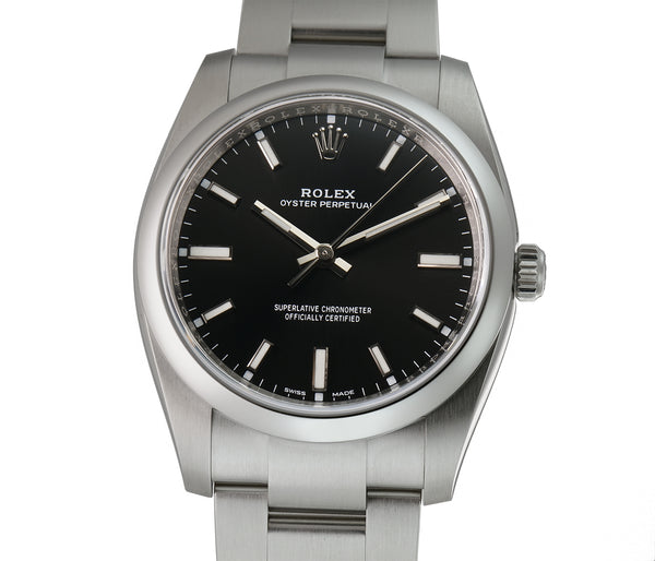 34mm No-Date Stainless Steel Black Dial