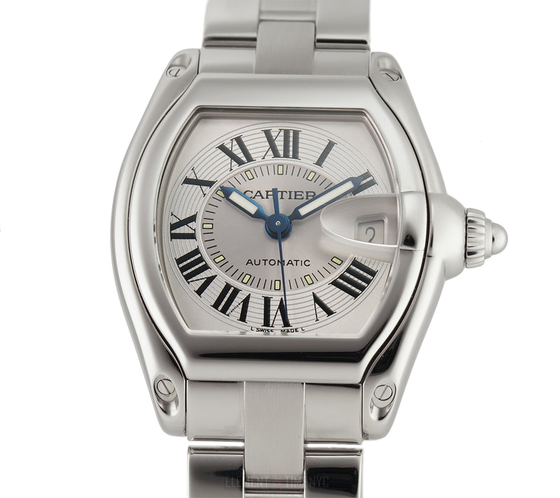 Steel 37mm Silver Roman Dial Blue Hands