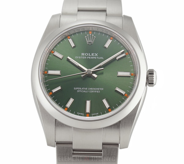 34mm No-Date Stainless Steel Olive Green Dial