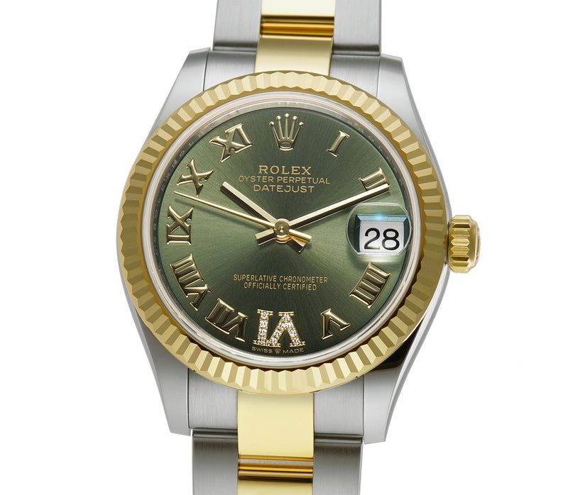 31mm Steel And 18k Yellow Gold Olive Green Roman Diamond Dial Oyster Bracelet