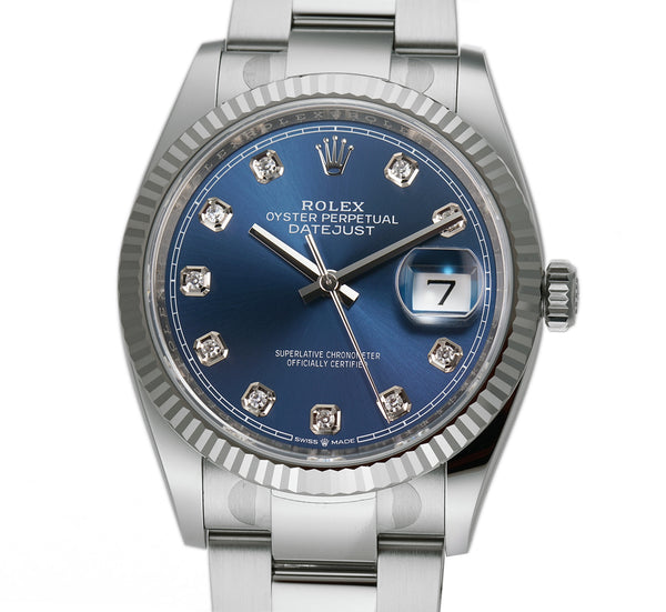 36mm Steel Blue Diamond Dial 18k Fluted Bezel Oyster Bracelet