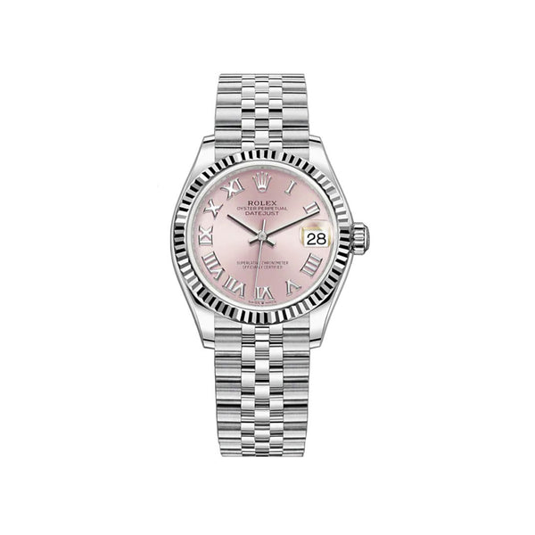 31mm Steel and 18k Fluted Bezel Pink Roman Dial Jubilee Bracelet