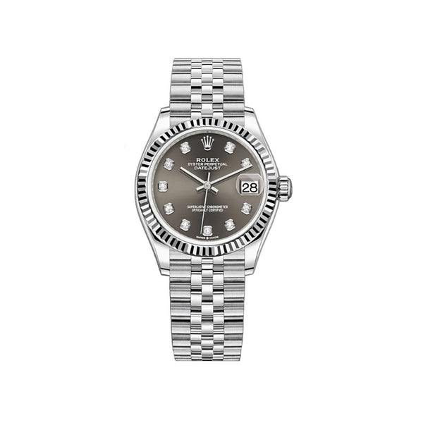 31mm Steel and 18k Fluted Bezel Dark Grey Diamond-Set Dial Jubilee Bracelet