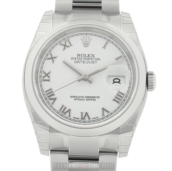 Steel 36mm Domed Bezel White Roman Dial