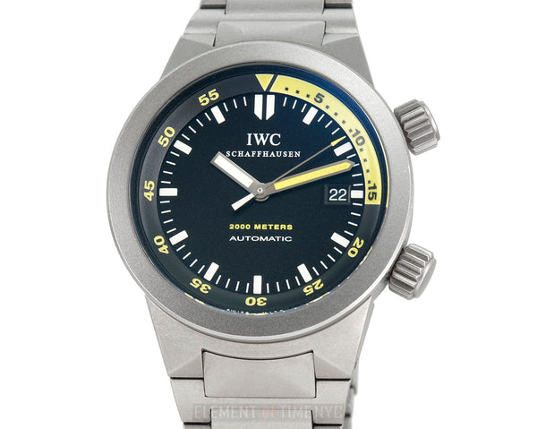 Aquatimer 2000 Titanium 42mm Black Dial Yellow Accents On Bracelet
