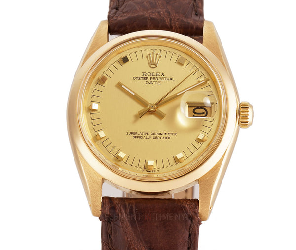 34mm Date 18k Yellow Gold T Swiss Champagne Stud Dial Circa 1970