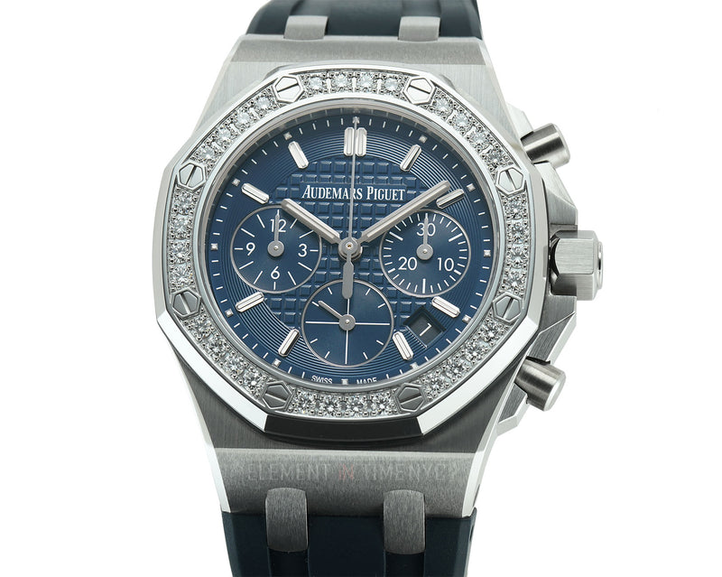 Lady Chronograph 37mm Diamond Bezel Blue Dial