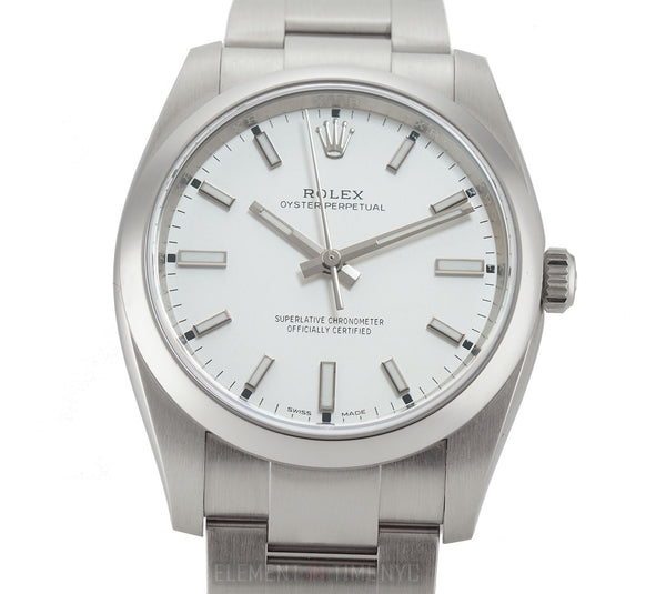 34mm No-Date Stainless Steel White Dial