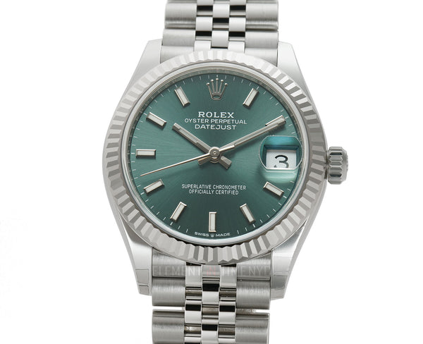 31mm Steel and 18k Fluted Bezel Mint Green Index Dial Jubilee Bracelet