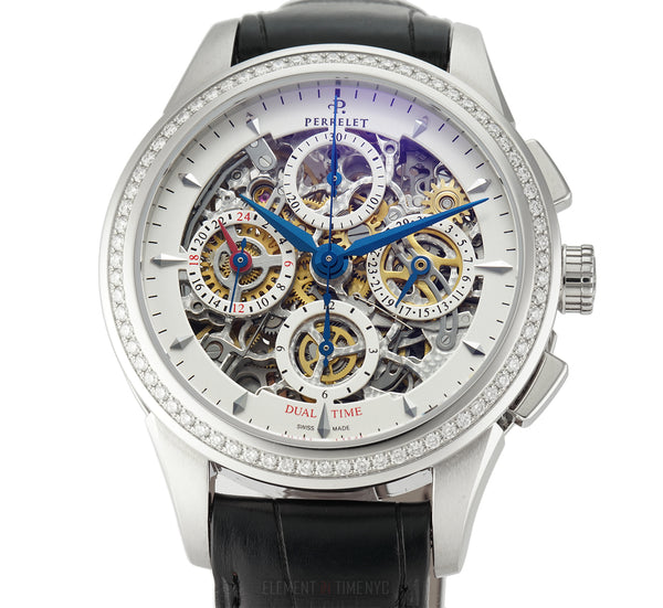 Dual Time Chronograph Diamond Bezel Steel 42mm Skeleton Dial