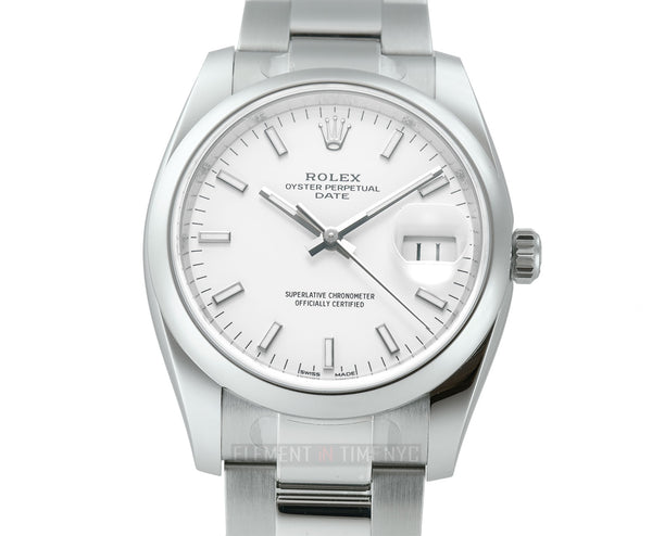 34mm Date White Dial