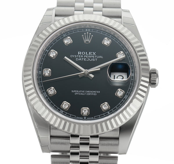 Steel 41mm 18k Fluted Bezel Black Diamond Dial Jubilee Bracelet