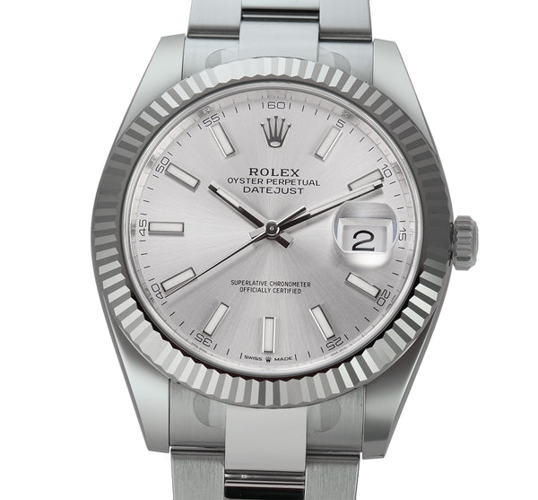 Steel 41mm 18k Fluted Bezel Silver Index Dial Oyster Bracelet