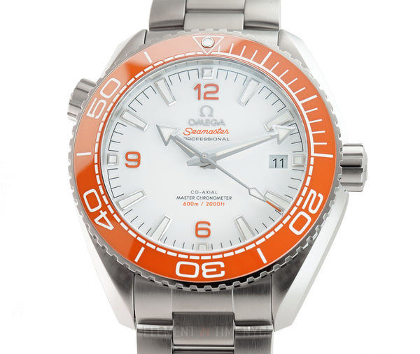 Planet Ocean 600m Co-Axial Master Chronometer Steel Orange Bezel 44mm White Dial