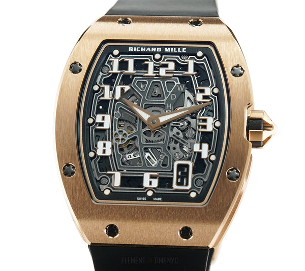 RM67-01 Extra Flat 18k Rose Gold Black Skeleton Dial