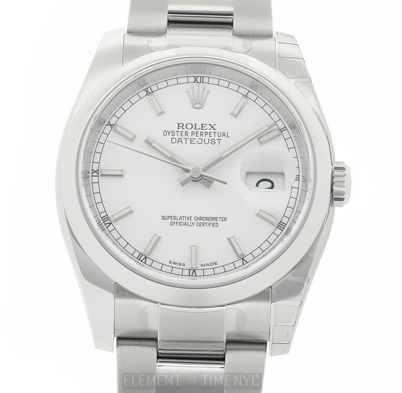 Steel 36mm Domed Bezel White Index Dial
