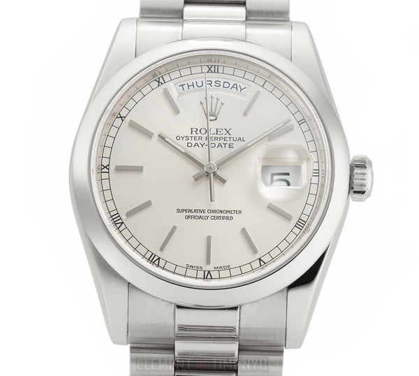 President Platinum 36mm Silver Index Dial