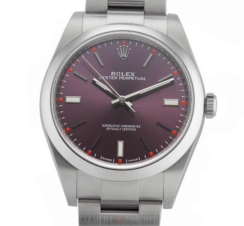 39mm No-Date Stainless Steel Red Grape Dial
