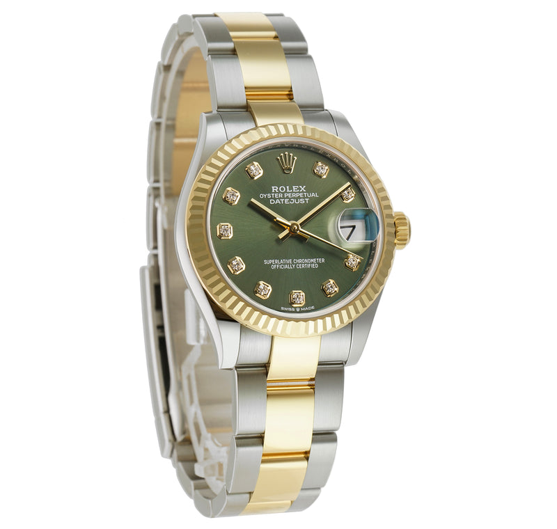 31mm Steel And 18k Yellow Gold Olive Green Diamond Dial Oyster Bracelet