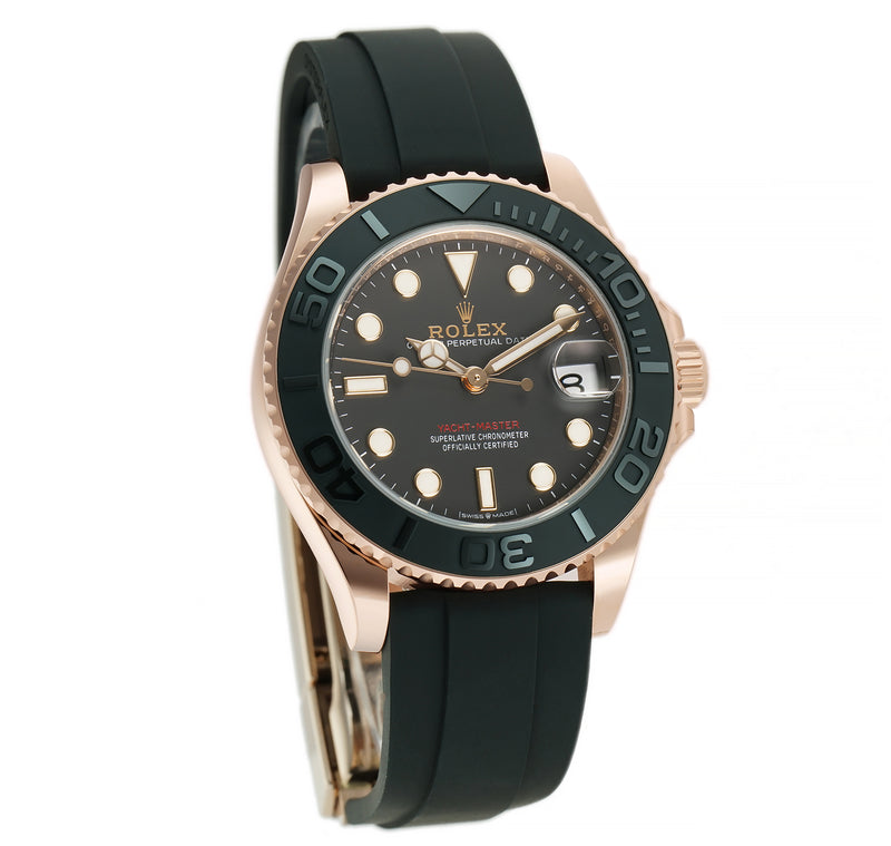 37 18k Eversose Gold Ceramic Bezel Black Dial Oysterflex