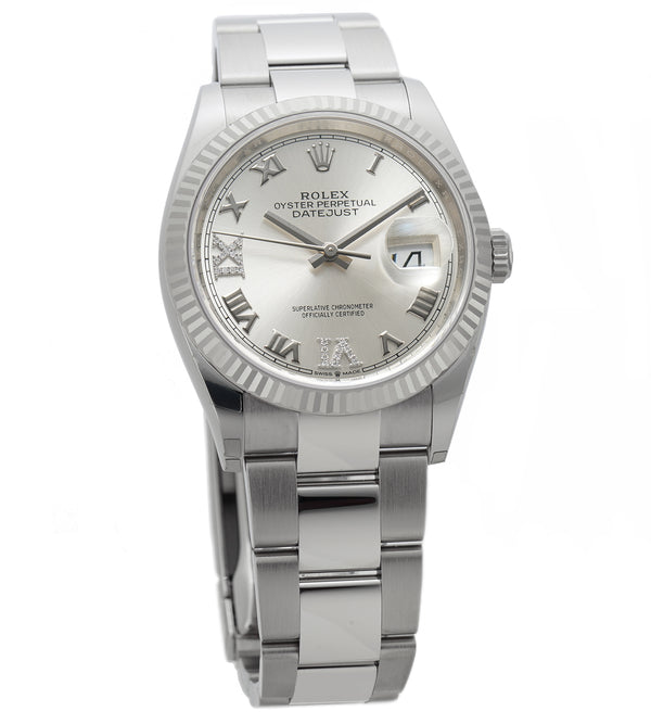 36mm Steel Silver Roman Diamond VI And IX Dial 18k Fluted Bezel Oyster Bracelet