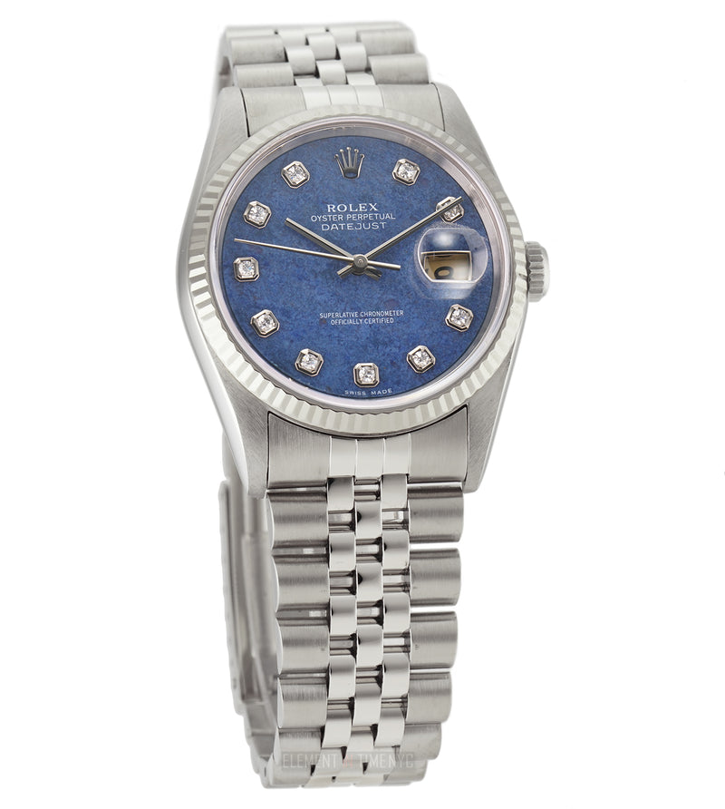 Steel 36mm 18k Fluted Bezel Sodalite Diamond Dial T Serial Circa 1996