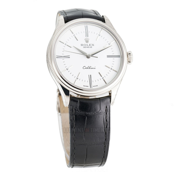Time 18k White Gold 39mm White Dial On Black Strap