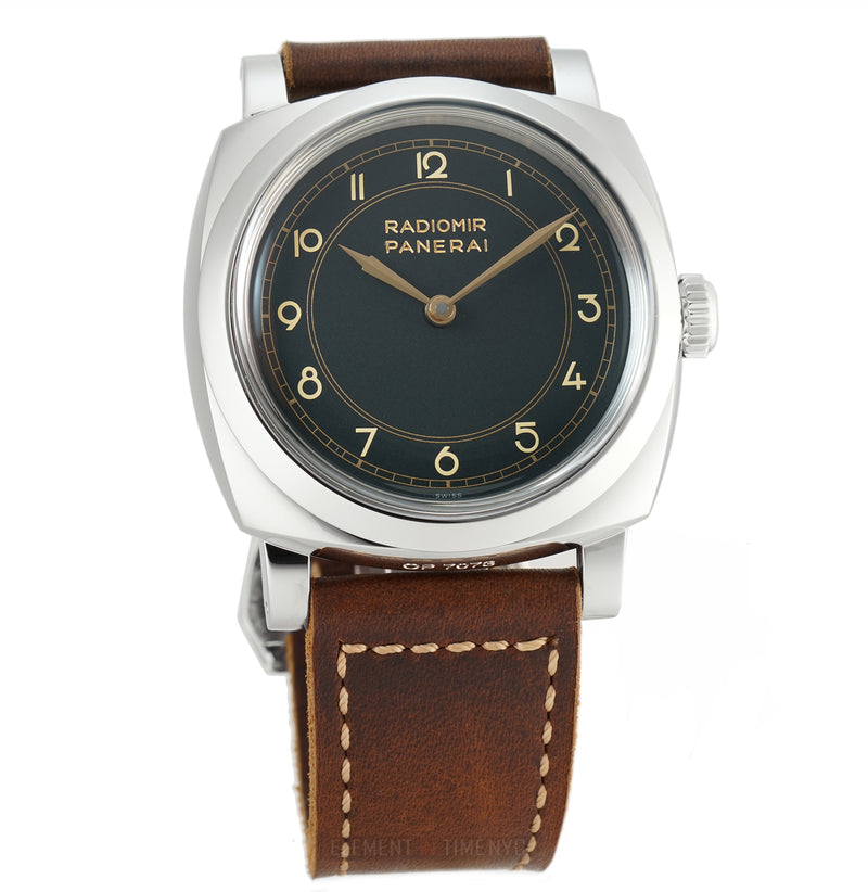 1940 Art Deco Stainless Steel Black Dial 47mm