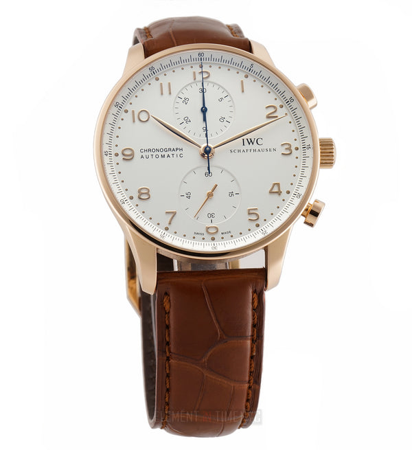 Chronograph 18k Rose Gold Silver Arabic Dial