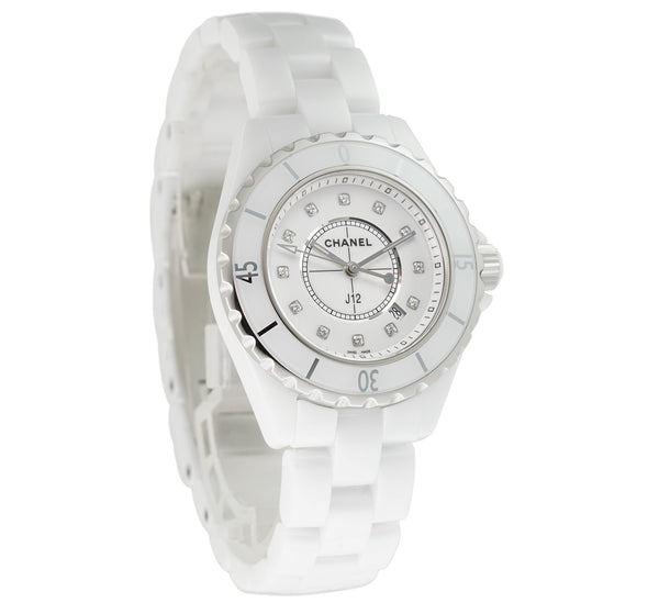 White Ceramic 33mm White Diamond Dial Quartz